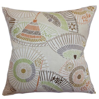Devona Geometric Floor Pillow Color: Beige/Green