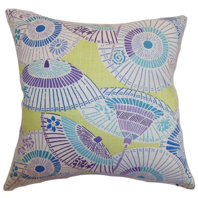 Devona Geometric Floor Pillow Color: Green/Purple