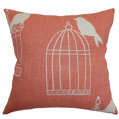 Megan Birds Floor Pillow Color: Melon