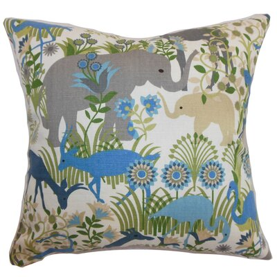Bristol Flora & Fauna Floor Pillow Color: Blue Haze