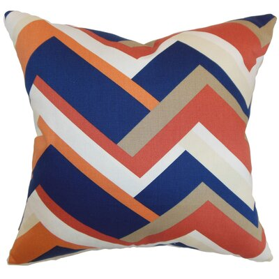 Armona Geometric Floor Pillow Color: Melon