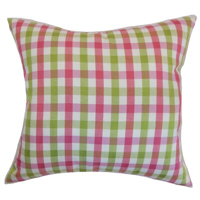 Jewell Plaid Floor Pillow Color: Flamingo
