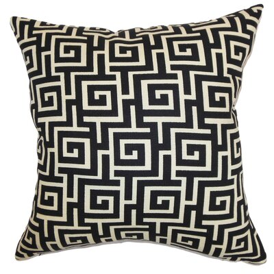 Clifton Geometric Floor Pillow Color: Black/Creme