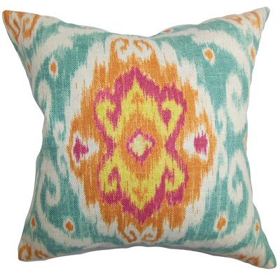Bettembourg Ikat Floor Pillow Color: Blue/Orange