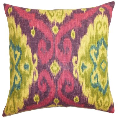 Bettembourg Ikat Floor Pillow Color: Pink/Purple