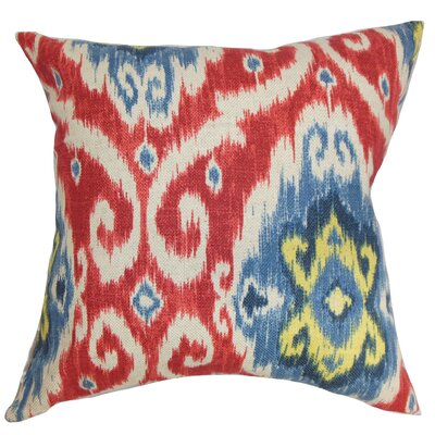 Bettembourg Ikat Floor Pillow Color: Red/Blue