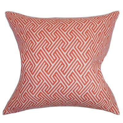 Jarett Geometric Floor Pillow Color: Coral