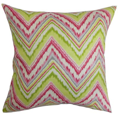 Brushwood Zigzag Floor Pillow Color: Pink/Green