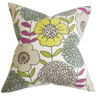 Hammontree Floral Floor Pillow Color: Yellow