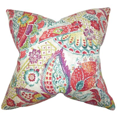 McSweeney Floral Linen Throw Pillow Color: Pink