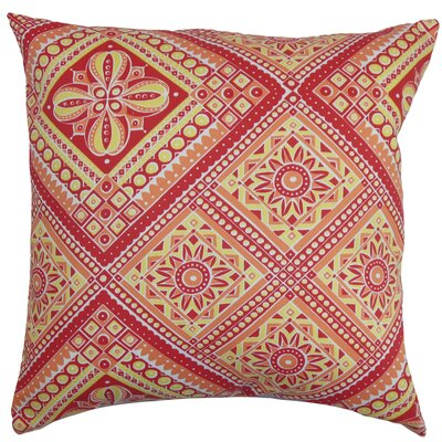 Delancy Geometric Floor Pillow Color: Red/Yellow