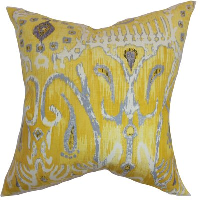 Delron Ikat Floor Pillow Color: Yellow