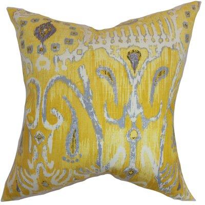 Delron Ikat Floor Pillow Color: Yellow