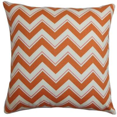 Burkhart Zigzag Floor Pillow Color: Orange/White