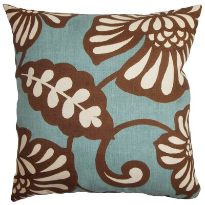Russellville Floral Floor Pillow Color: Blue/Brown