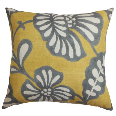 Russellville Floral Floor Pillow Color: Gray/Yellow