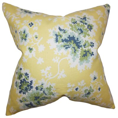 Elmsford Dortch Floral Floor Pillow Color: Lemon