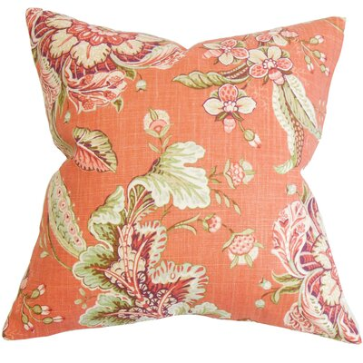 Penton Floral Floor Pillow Color: Orange