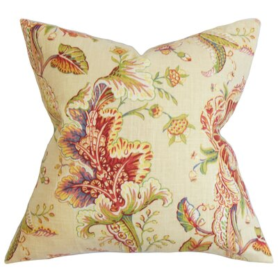 Penton Floral Floor Pillow Color: Green/Red