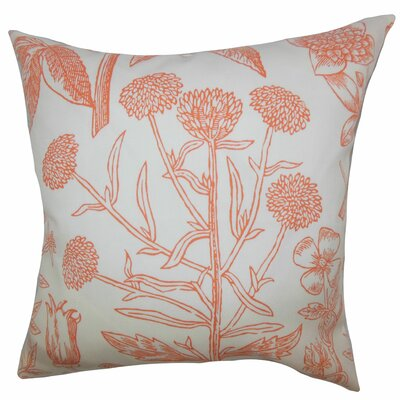 Minerva Floral Floor Pillow Color: Orange