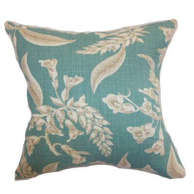 Perin Floral Floor Pillow Color: Aqua