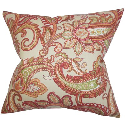Broadlands Floral Floor Pillow Color: Orange