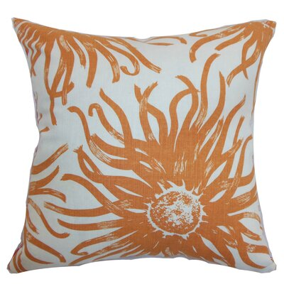 Melanie Floral Floor Pillow Color: Papaya