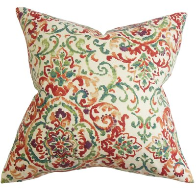 Avery Floral Floor Pillow Color: Red/Green