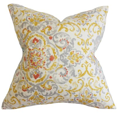 Avery Floral Floor Pillow Color: Gray/Yellow