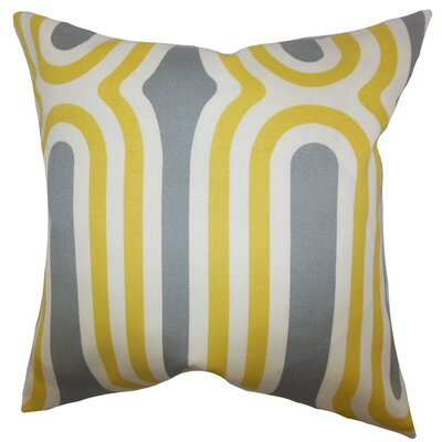 Sammy Geometric Floor Pillow Color: Yellow