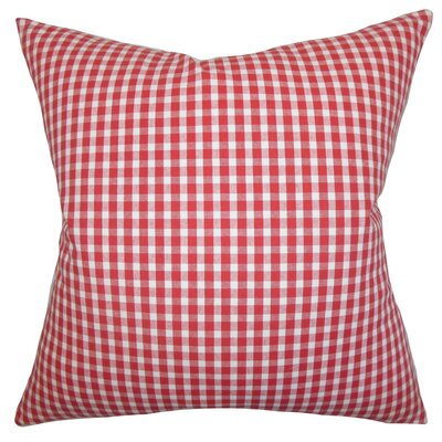 Ronda Plaid Floor Pillow Color: Red