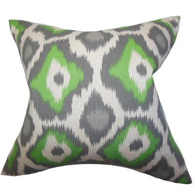 Camillei Ikat Floor Pillow Color: Green