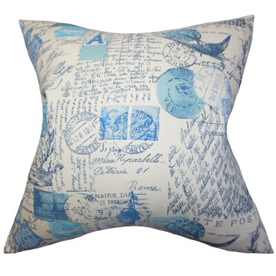 Ginsberg Typography Floor Pillow Color: Blue