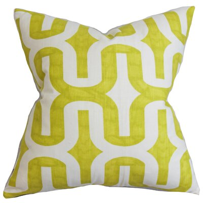 Libbie Geometric Floor Pillow Color: Green