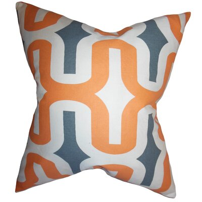 Libbie Geometric Floor Pillow Color: Orange