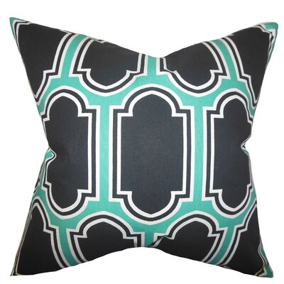 Bourget Geometric Square Floor Pillow Color: Jade