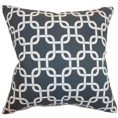 Burkholder Geometric Floor Pillow Color: Charcoal Slub