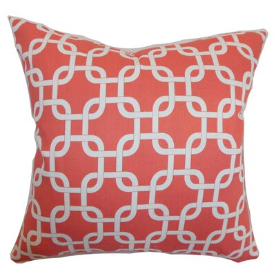 Burkholder Geometric Floor Pillow Color: Coral/White