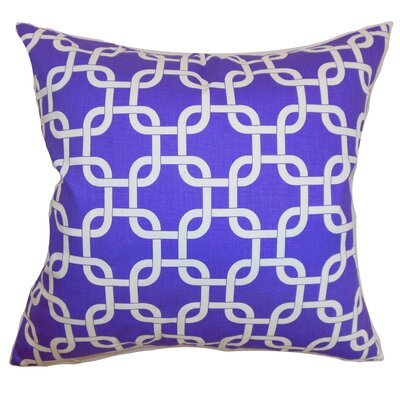 Burkholder Geometric Floor Pillow Color: Purple/White