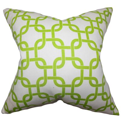 Burkholder Geometric Floor Pillow Color: Green/White