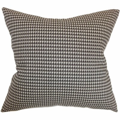 Langevin Houndstooth Floor Pillow Color: Chocolate Linen
