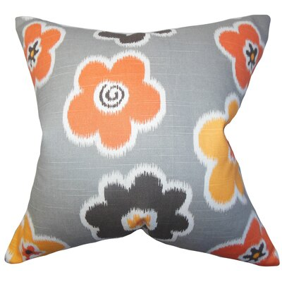 Bunbury Floral Floor Pillow Color: Light Gray