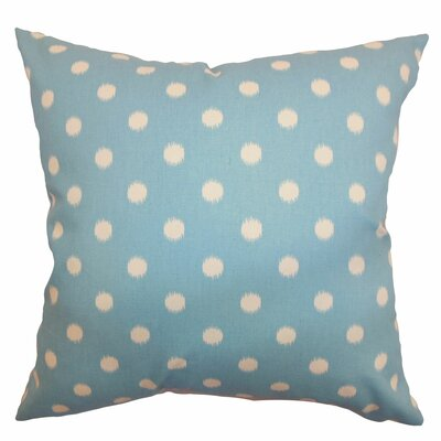 Hearon Ikat Dots Floor Pillow Color: Soft Blue/Natural