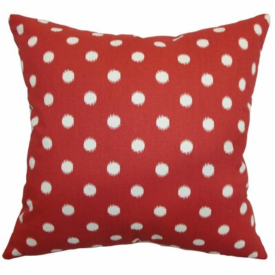Hearon Ikat Dots Floor Pillow Color: Primary Red/Natural