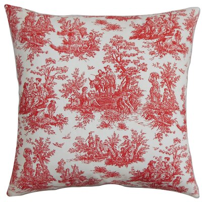 Petersen Toile Floor Pillow Color: Red/White