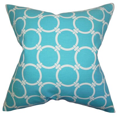 Burt Geometric Floor Pillow Color: Sky Blue
