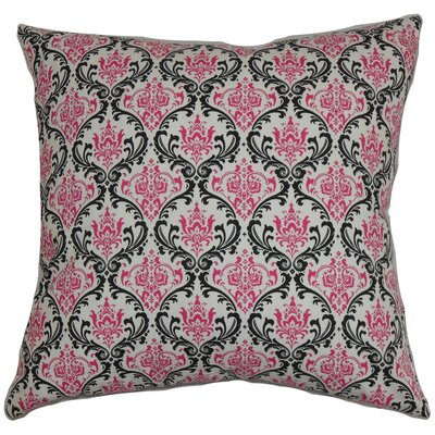 Janine Damask Floor Pillow Color: Black/Pink