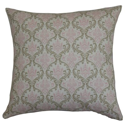Janine Damask Floor Pillow Color: Green/Pink