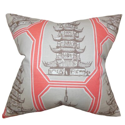 Demers Geometric Floor Pillow Color: Gray/Pink