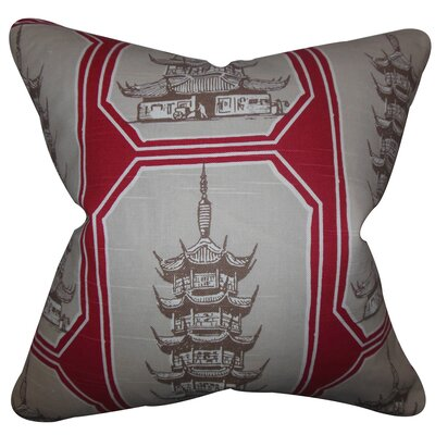 Demers Geometric Floor Pillow Color: Gray/Red